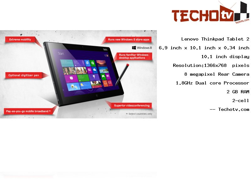 Lenovo Thinkpad Tablet 2 tablet Full Specifications, Price