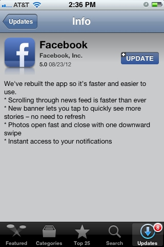 Facebook updated for iPhone, iPad and Android