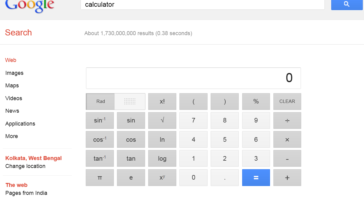 Free Online Calculator on Google