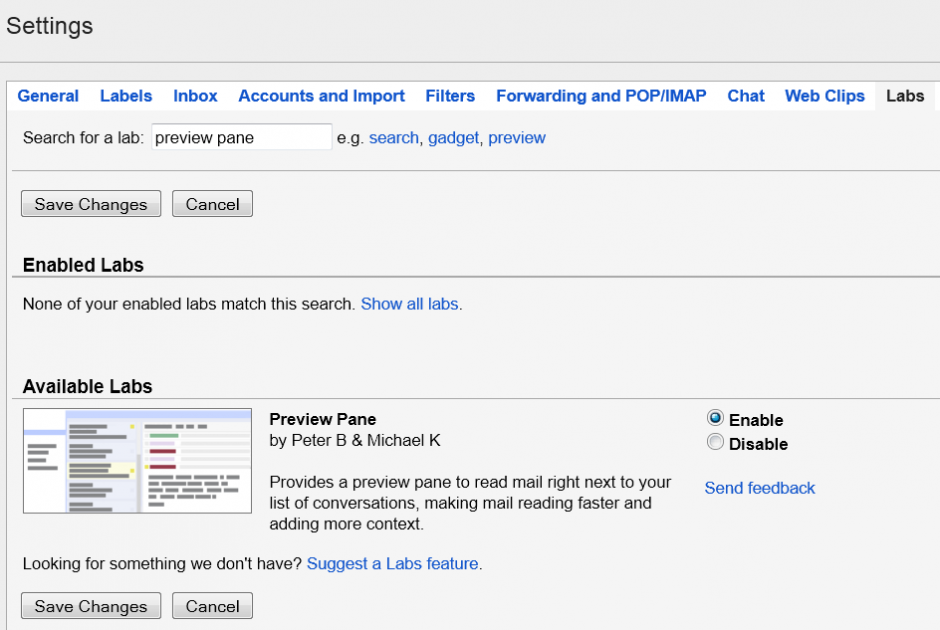 preview pane gmail