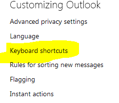 outlook shortcut keys