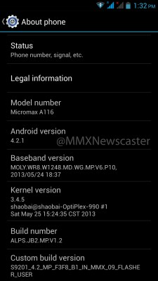 Update Micromax Canvas HD A116 with official Android 4.2 Firmware